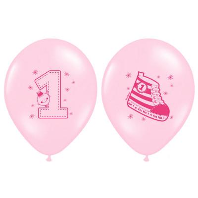 Ballon premier anniversaire rose