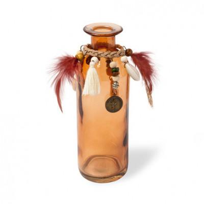 Vase en verre taupe et plumes