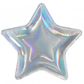 Assiette étoilée iridescent x10