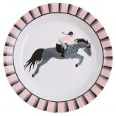 Assiette équitation colorée x10