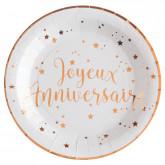 Assiette joyeux anniversaire Rose Gold x10