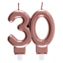 Bougie chiffre 30 rose gold