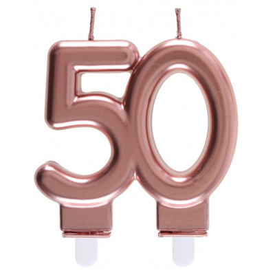Bougie chiffre 50 rose gold