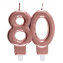 Bougie chiffre 80 rose gold