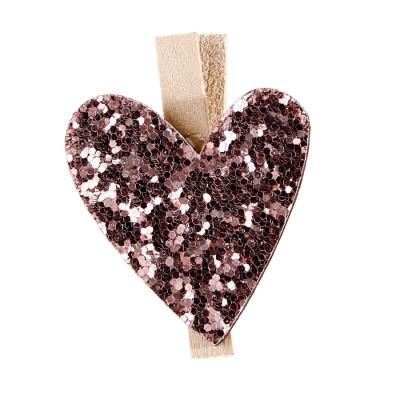 Clips coeur pailletés rose x6