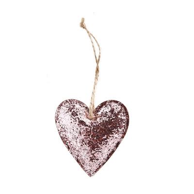Coeur pailleté rose à suspendre