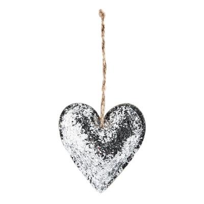 Coeur pailleté argent à suspendre