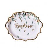 Assiette végétal baptême x8