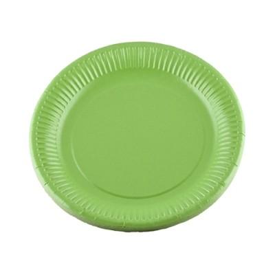 Assiettes carton de couleur (x20) vert kiwi