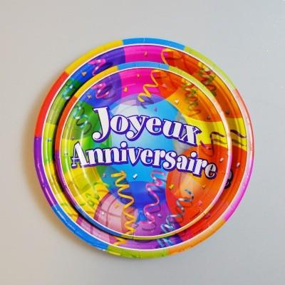 Assiettes à dessert J.anniversaire (x8)