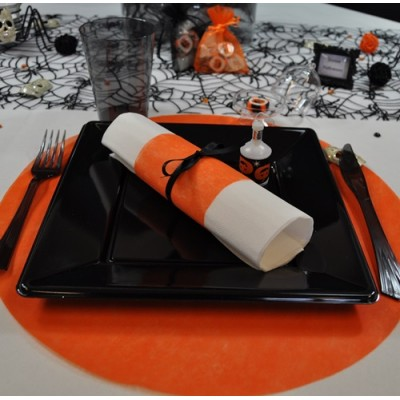 Sets de table ronds orange en non tissé (x50)