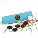 Bracelets ardoise et velours (x6) fuchsia