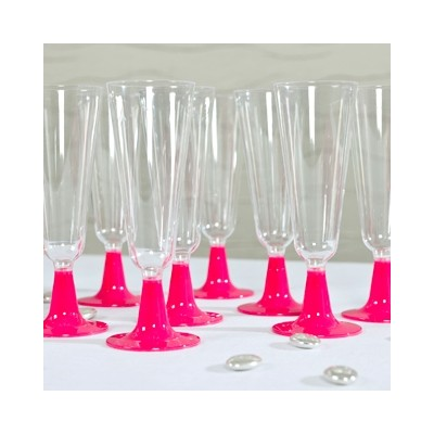 Flutes à champagne (x8) transparent fuchsia