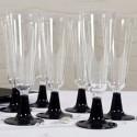 Flutes à champagne (x8) transparent noir