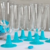 Flutes à champagne (x8) transparent turquoise