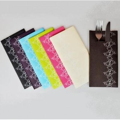 Serviettes porte-couverts bistrot volutes (x12) noires