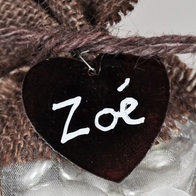Nacres colorées forme cœur (x6) chocolat