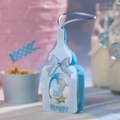 sacs à dragées biberons bleus